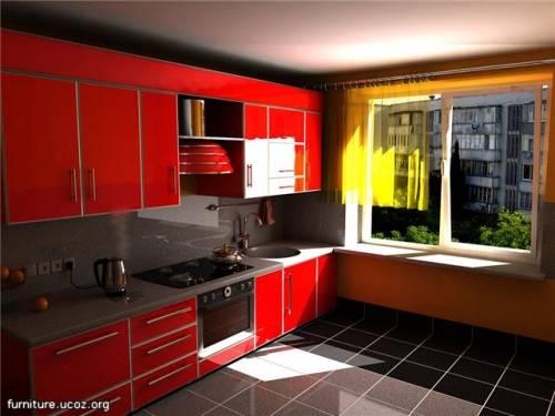Фото дизайн красной кухни